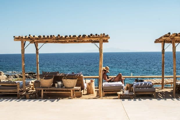 Scorpios beach club in Mykanos lounge chairs