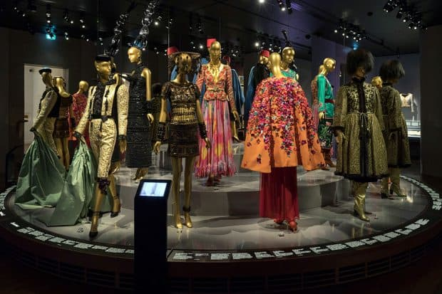 Display of clothes on mannequins at Musée Yves Saint Laurent in Paris
