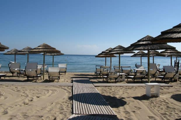 Beach at Coccaro Beach Club in Puglia Italy
