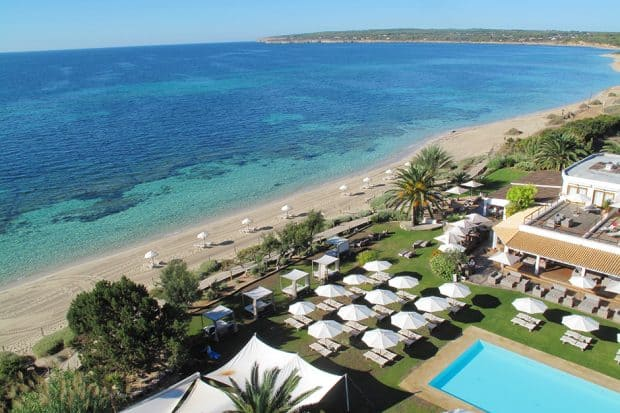 Aerial view of The Gecko Beach Club in Formentera, Spain