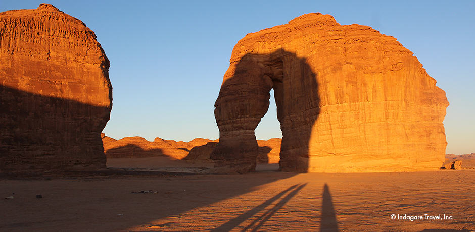 Sunset at Elephant Rock or Jabal Alfeel, one of hundreds of monolithic rocks in Al-`Ula