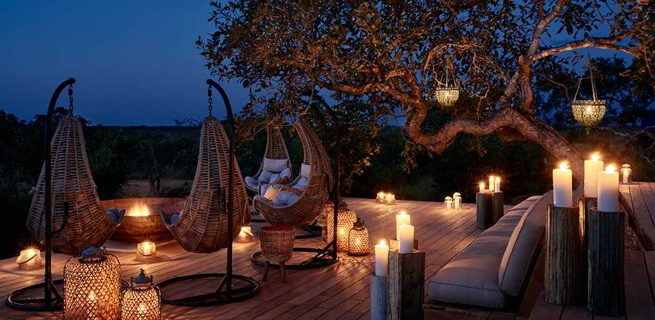 The fire pit on the main deck of the central lodge at The Farmstead at Royal Malewane, South Africa. Courtesy the Royal Portfolio.