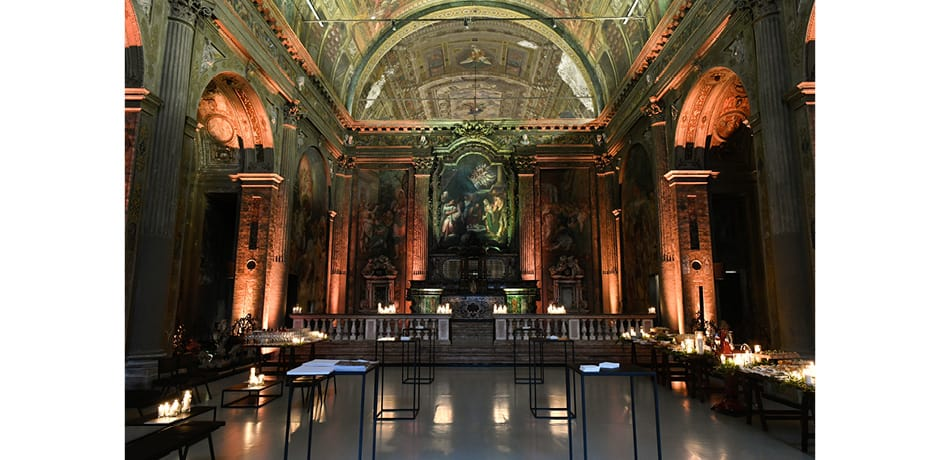A pre-party view of WSJ. Magazine's Salone del Mobile welcome party, which was held in the deconsecrated church San Paolo Converso. © The Wall Street Journal, André Lucat/SGP.