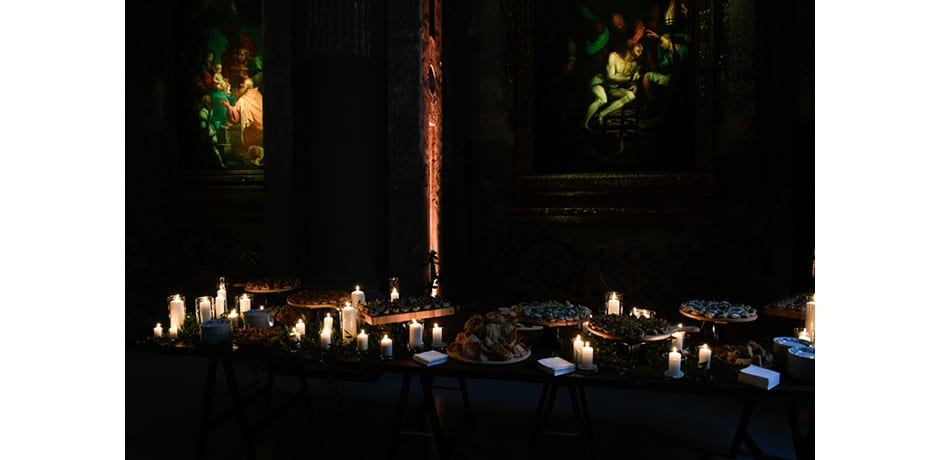 Party-goers mingled with religious masterpieces at WSJ. Magazine's Salone del Mobile welcome party, which was held in the deconsecrated church San Paolo Converso. © The Wall Street Journal, André Lucat/SGP.