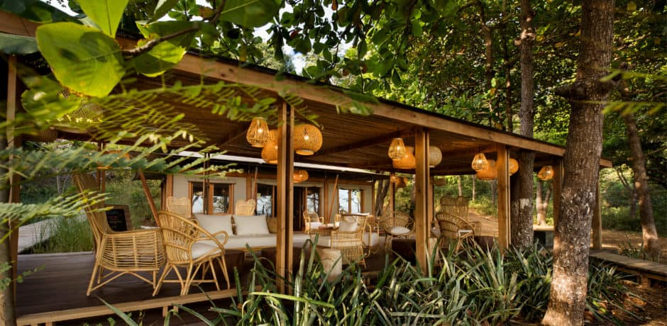 The beach cabana is the spot for breakfast and lunch—plus, looking for the resident white-faced monkeys. Photo courtesy of Kasiiya Papagayo.