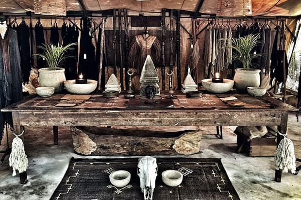 Wooden table at Caravana store in Tulum Mexico