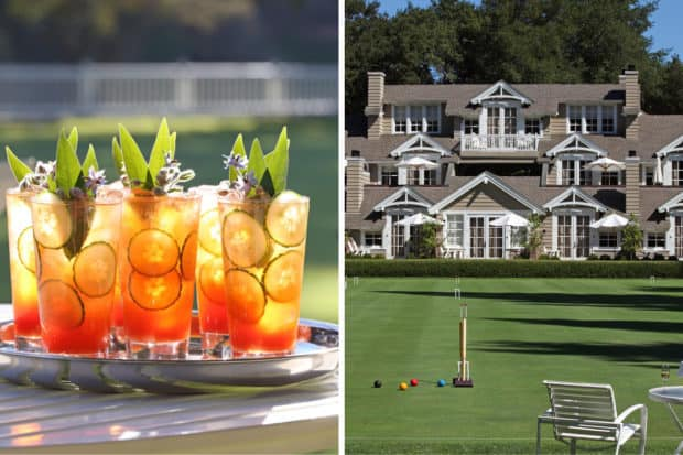Coastal Pimm's Cup, the croquet lawn at Meadowood