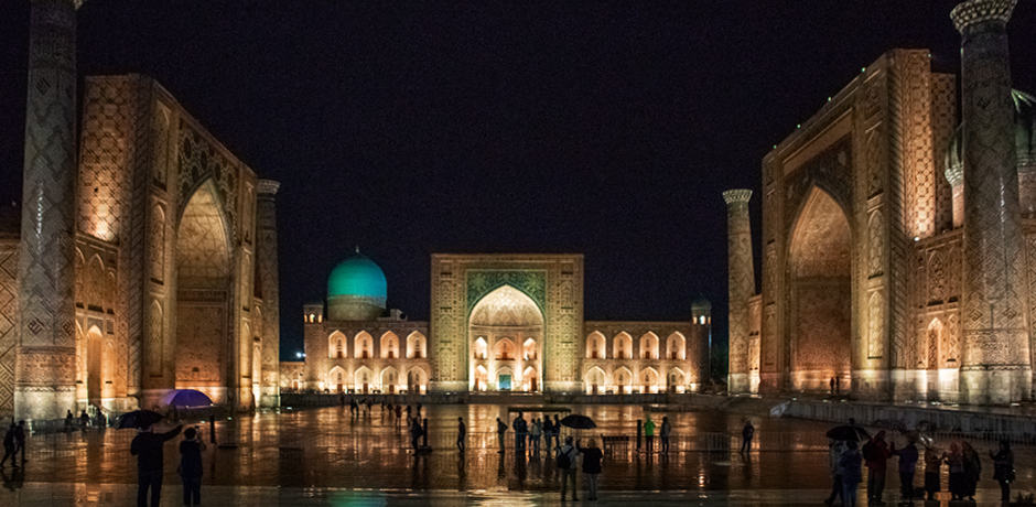Nighttime views in Uzbekistan on the 2019 Insider Journey with John Robshaw