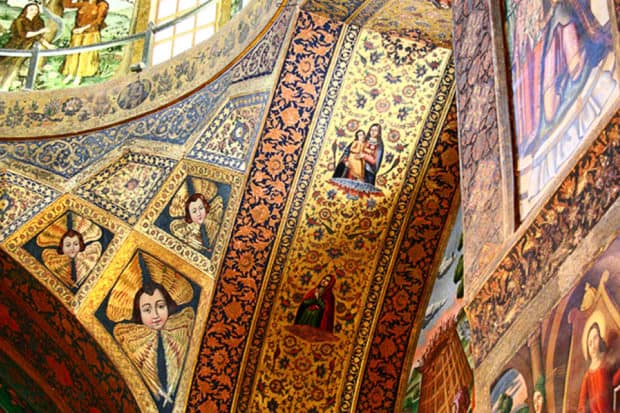 The gilded ceiling of the Vank Cathedral in Isfahan.