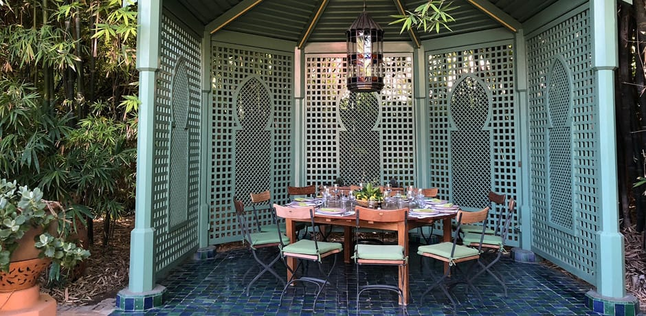 A private lunch spot in Yves Saint Laurent and Pierre Bergé's Villa Oasis, which will be included on the 2019 Insider Journeys to Marrakech hosted by AD editors Mitch Owens and Gay Gassmann.