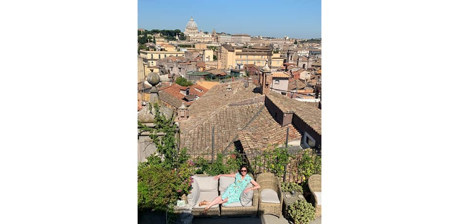 The group enjoyed rooftop views at one of Rome's loveliest private apartments.