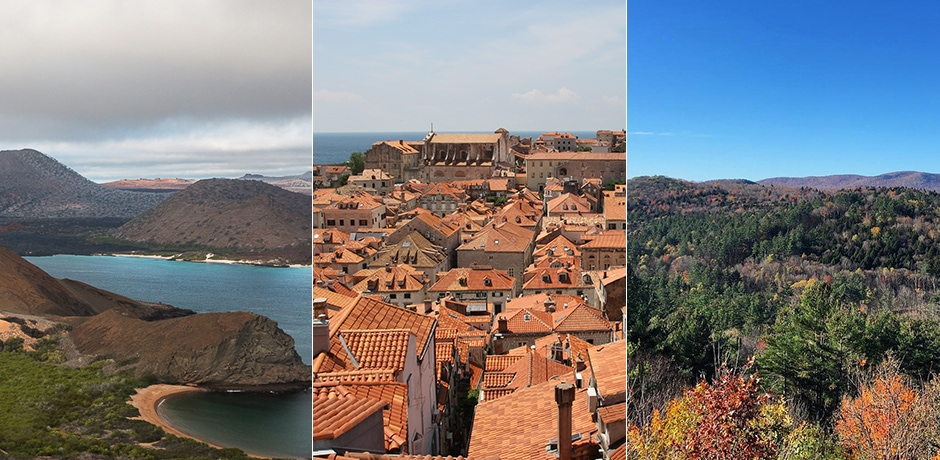 From left: Galapagos, Dubrovnik, Vermont. Courtesy Indagare