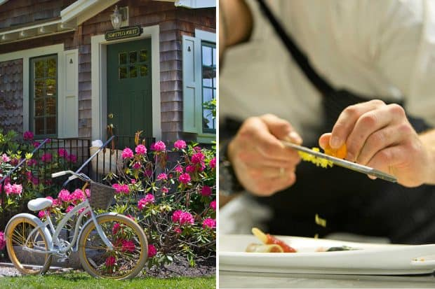 Bike by front door and chef grating onto plate at Grace White Barn Inn, Maine