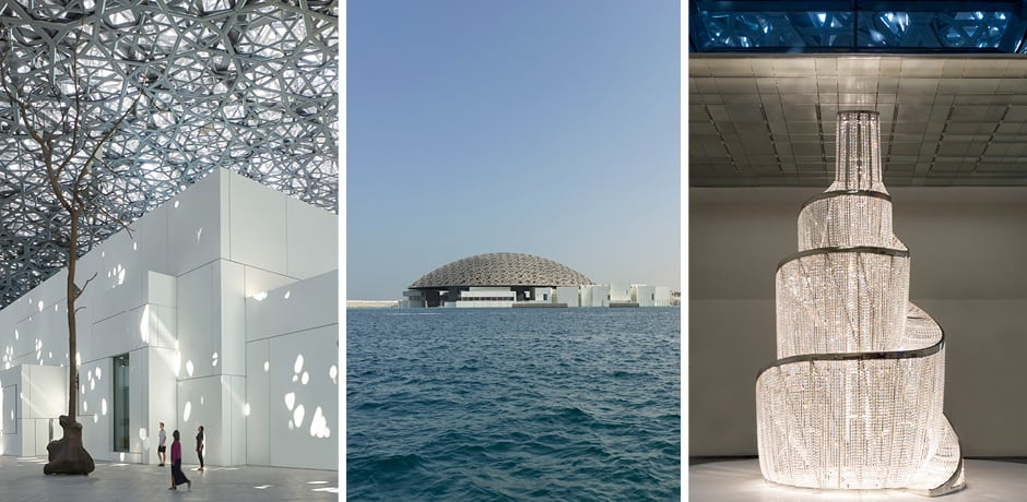 From left at Louvre Abu Dhabi: Germination by Giuseppe Penone, exterior view, Fountain of Light by Ai Weiwei