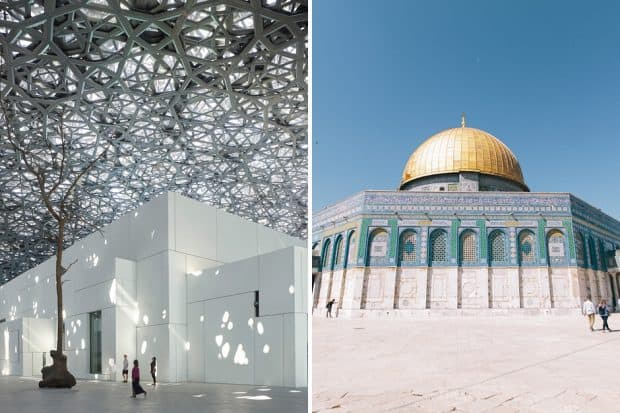 The futuristic interiors of the Louvre Abu Dhabi, the facade of TK in Jerusalem