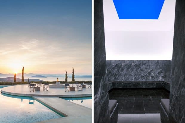 From left: the main pool at Amanzoe; Sky Paint by James Turrell at Villa 31