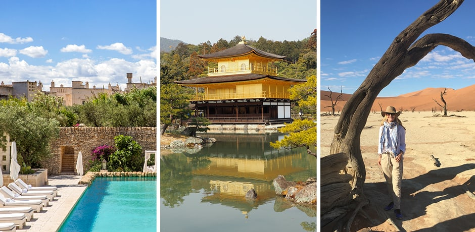From left: Borgo Egnazia in Puglia; the Golden Pavilion in Kyoto; Melissa in Namibia