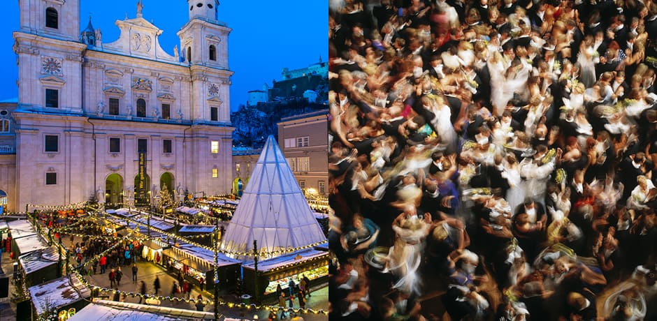From left: Salzburg in winter, a Viennese ball