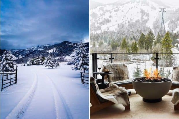 From left: snow in Big Sky, Montana; a cozy spot for après ski at Caldera House in Jackson Hole (courtesy Caldera House).