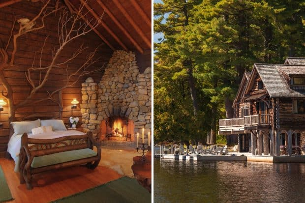 Lake Kora resort bedroom and lakefront in the Adirondacks New York