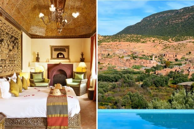 Kasbah Tamadot bedroom and pool view in Morocco