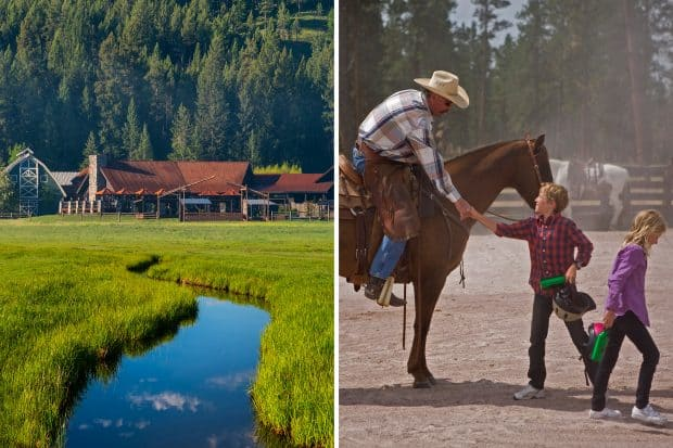 Paws Up resort exterior and horseback rider with children in Montana