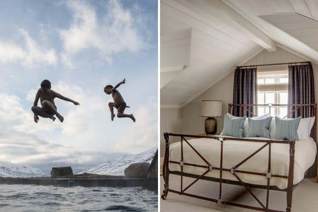 From left: kids jumping into the pool at Deplar Farm; a room