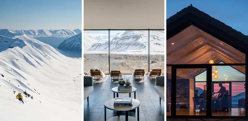 From left: heli-skiing, the spa and the dining room at Deplar Farm