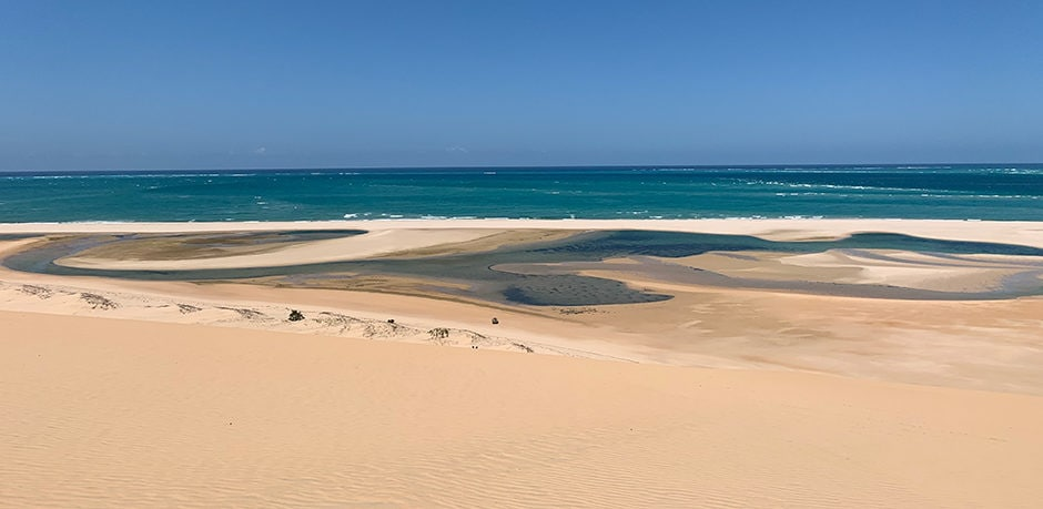 A view of the dunes on Bazaruto Island, Mozambique, Courtesy Indagare