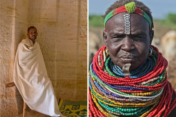 From left: A monk at Daniel Korkor church; a woman from the Nyangatom Tribe in southwestern Ethiopia.