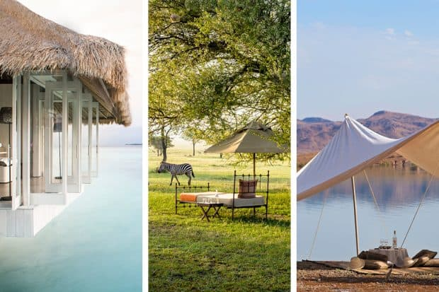 From left: Cheval Blanc Randheli, Singita Sabora and Dar Ahlam are romantic hotels made for the thrill-seeking couple