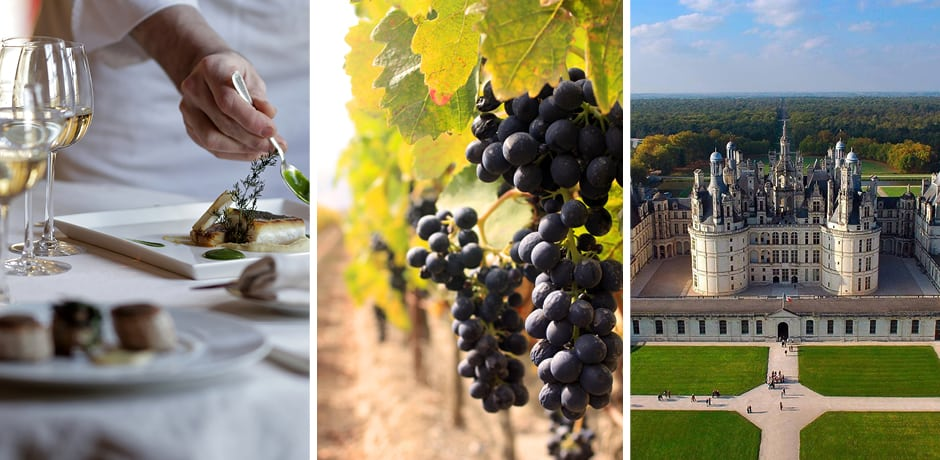 Courtesy Château de Courcelles, Champagne; Red grapes in Bordeaux, Courtesy  Bordeaux River Cruises; Courtesy Château Chambord, Loire Valley