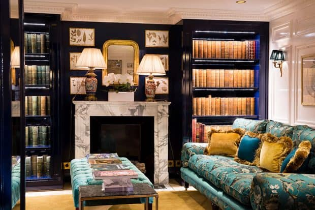 The library at Relais Christine Hotel in Paris
