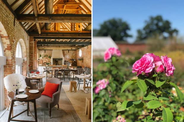 From left: The dining room at Hearth restaurant and English roses in one of the walled gardens at Heckfield Place