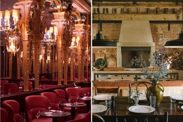 From left: a festive spot for afternoon tea at the Oscar Wilde bar (courtesy Hotel Cafe Royal); a cozy kitchen at the Cotswold's new property Heckfield Place (courtesy Heckfield Place).