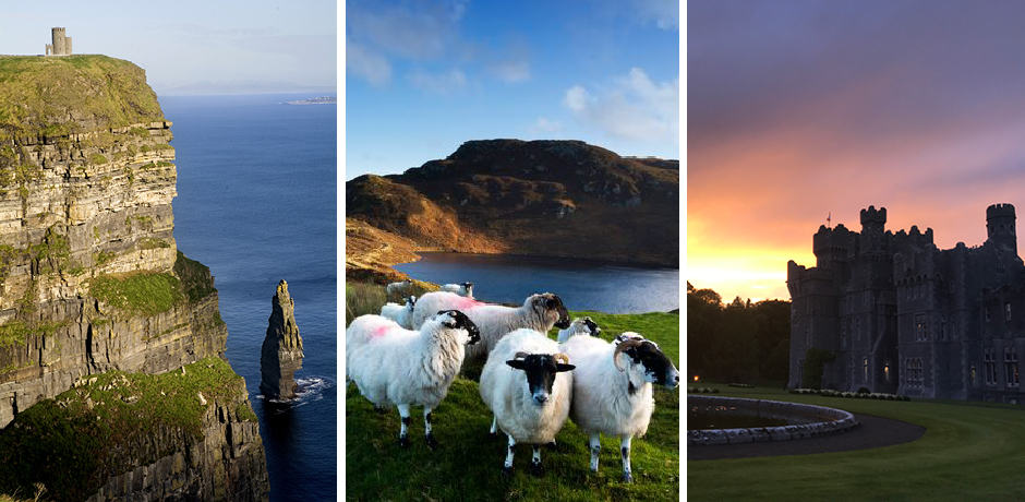Ireland's dramatic sea cliffs; a flock of sheep gather; the sun sets over Ashford Castle