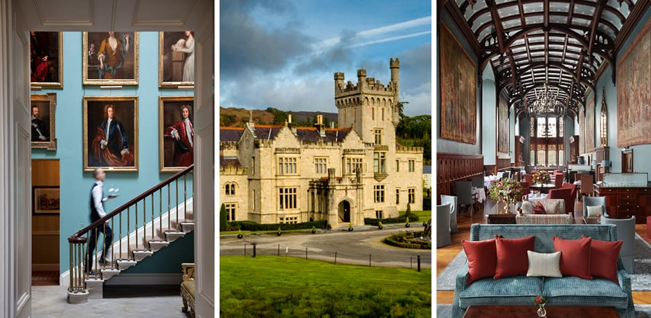 From left: Inside Ballyfin; the façade of Lough Eske Castle; The Minstrel's Gallery at Adare Manor