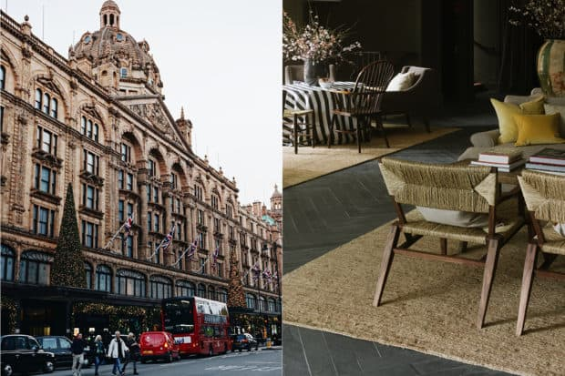 From left: Harrod's in London (courtesy James Healy); a cozy lounge at Hampshire's Heckfield Place (courtesy Heckfield Place).