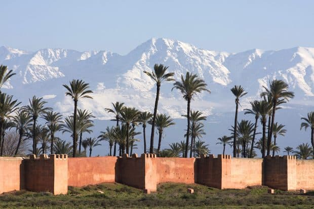 The Atlas Mountains, as seen from Marrakech