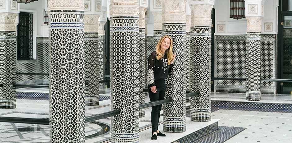 Indagare Founder Melissa Biggs Bradley, who led the inaugural Architectural Digest Insider Journey, exploring the vibrant world of Marrakech. Highlights included lunch in the former home of Yves Saint Laurent, Villa Oasis, with Madison Cox, president of the Fondations Pierre Bergé-Yves Saint Laurent. Travelers also enjoyed visits to some of the most exquisite private gardens and houses in the area as well as to the YSL Museum, festive dining, and plenty of guided shopping in the souks.