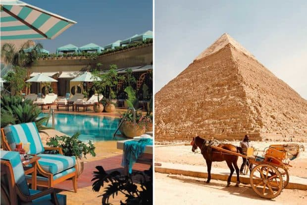 From left: the pool at the Four Seasons Nile Plaza (courtesy Four Seasons); the Great Pyramids.