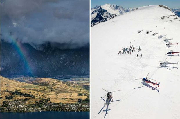 From left: a view of Queenstown; heli skiing at Minaret Station (courtesy Vaughan Brookfield).