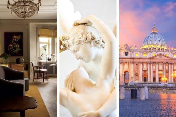 From left: Stockholm's Ett Hem is one of Scandinavia's most romantic hotels; Psyche Revived by Cupid's Kiss at the Louvre; Rome