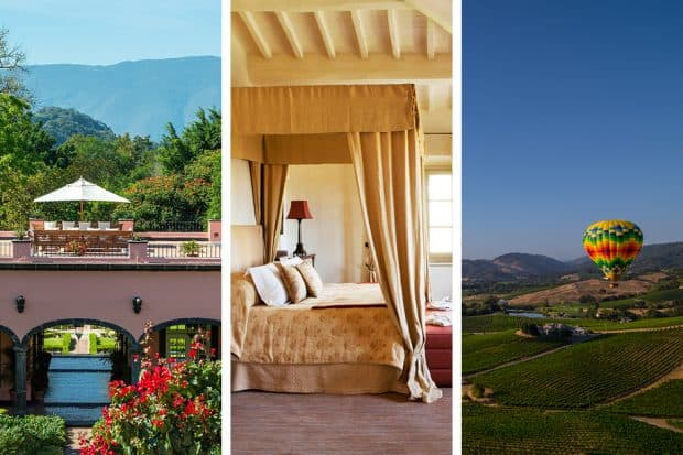 From left: Hacienda de San Antonio, Rosewood Castiglion del Bosco and Napa Valley are romantic hotels with dramatic scenery, delicious wines and exciting outdoor activities