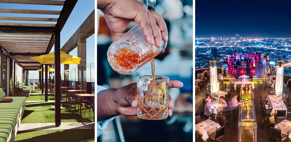 From left: Silo rooftop, a drink at the Silo, Sky Bar in Bangkok