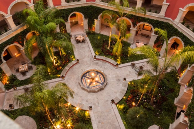 The courtyard at the Rosewood
