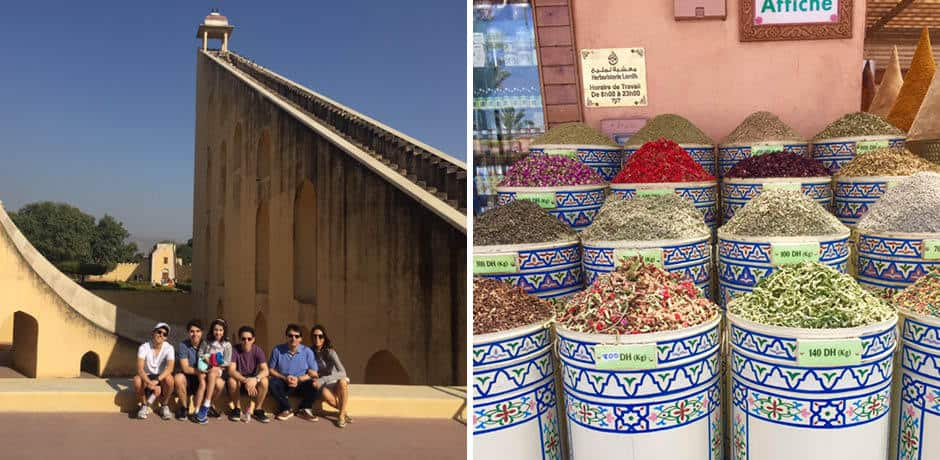 From left: The Rowan family in India, spices in Morocco
