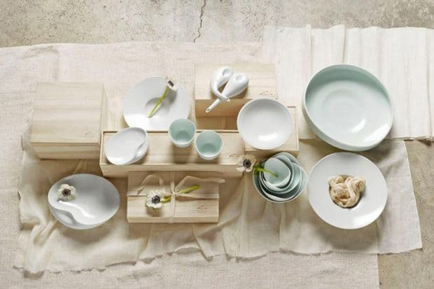 White ceramic dishes from Spin Ceramics in Shanghai