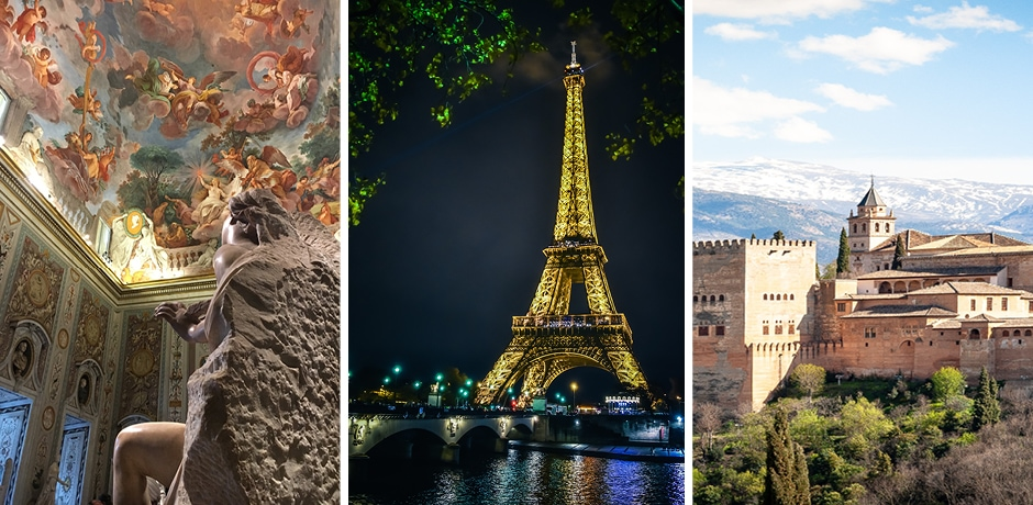 Borghese Gallery, Florence, Courtesy Indagare; Eiffel Tower, Paris, Courtesy Lucas Albuquerque; Alhambra, Spain, Courtesy Dimitry B.