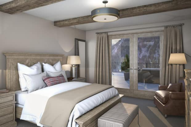 A newly renovated bedroom at Snowpine, Alta. Courtesy Snowpine